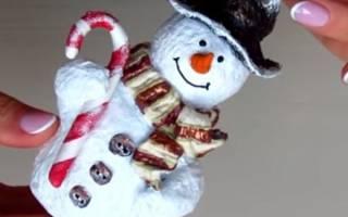 Елочная игрушка снеговик из папье-маше — мастер-класс, видео
