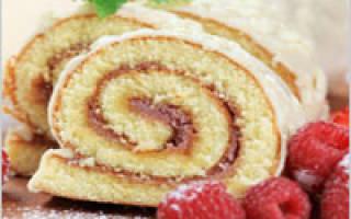 Бисквитный рулет со сгущенкой, вареньем, повидлом — пошаговый рецепт с фото, видео