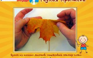 Букет из кленовых листьев своими руками, поэтапное изготовление