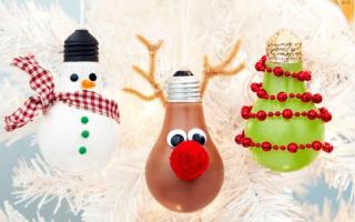 Елочные игрушки из лампочек своими руками, как сделать, мастер-класс, видео